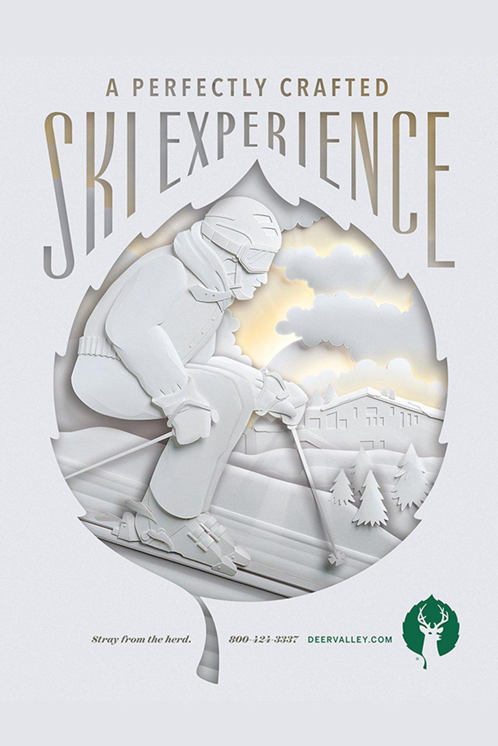 Full hand cut skier marketing brochure for Deer Valley