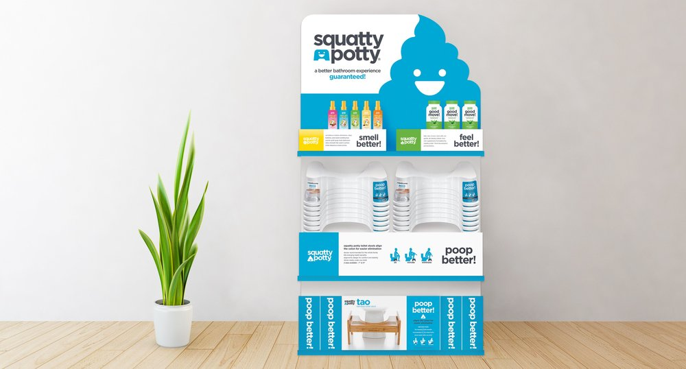 Squatty Potty Stool and Spray Display
