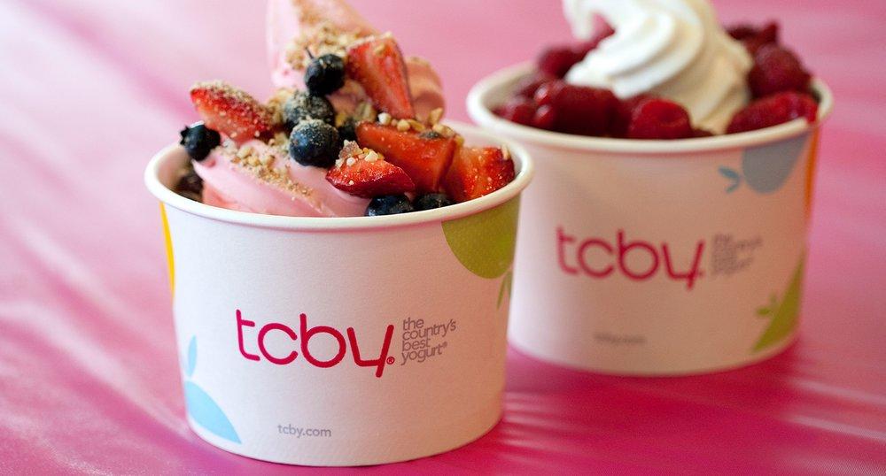 Yogurt filled TCBY cups