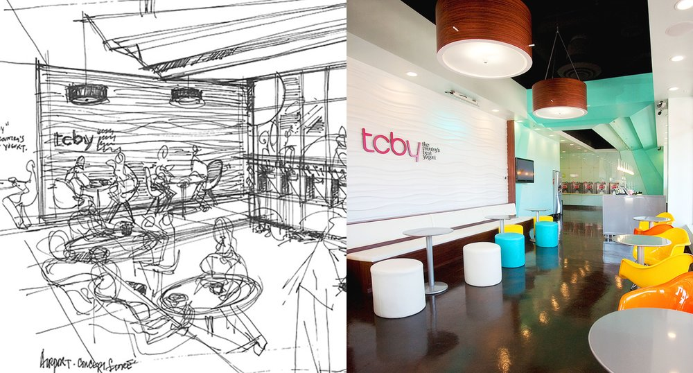 Airport concept initial sketch and TCBY store seating.