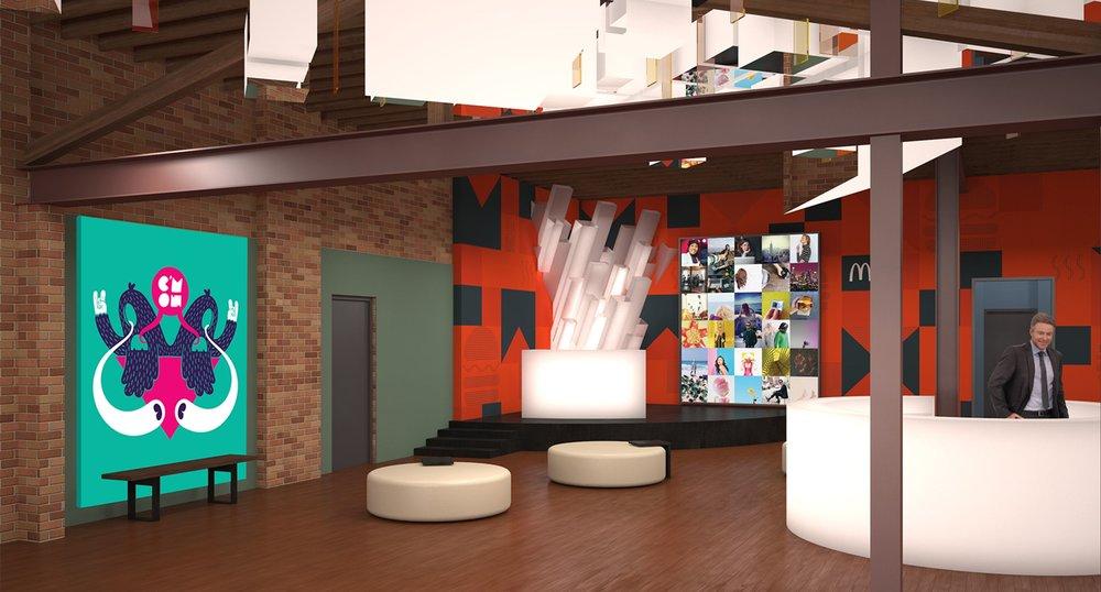 McDonald's Lounge Minimalist Space with Art Installation