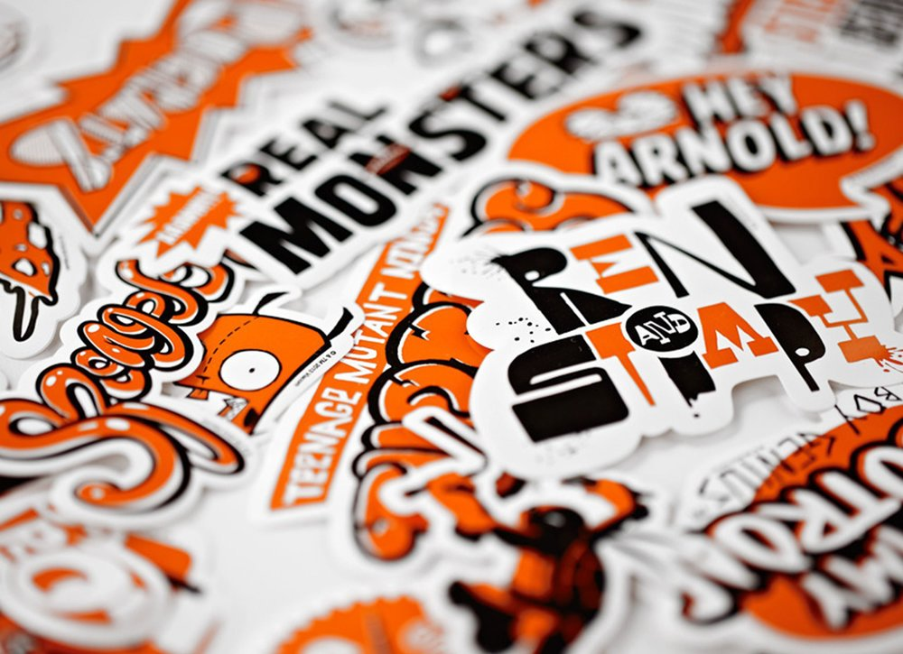 Stickers of Nickelodeon show titles