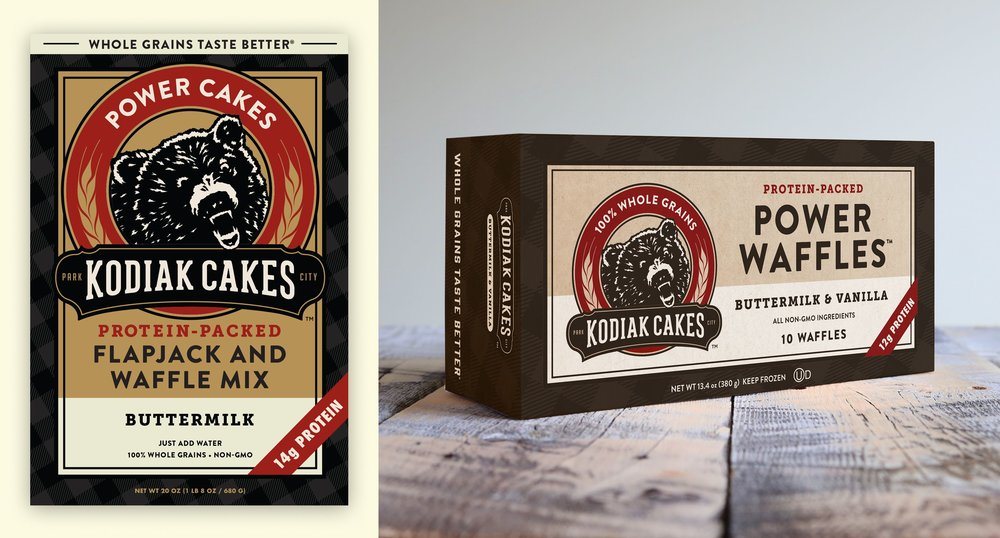 Kodiak Power Cakes and Power Waffles Packaging