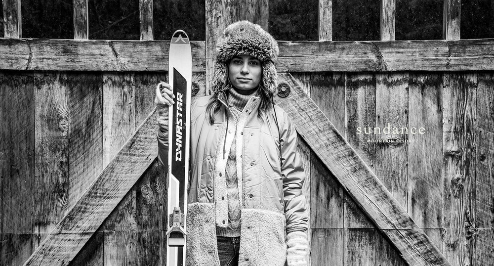 Woman Holding Skis Sundance Advertisement