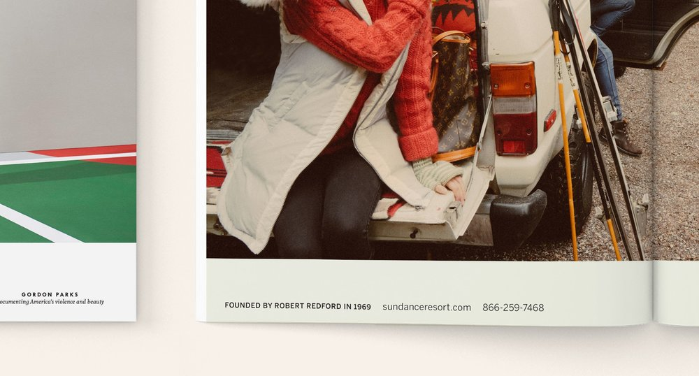 First half close up of Kinfolk Advertisement with contact information for Sundance