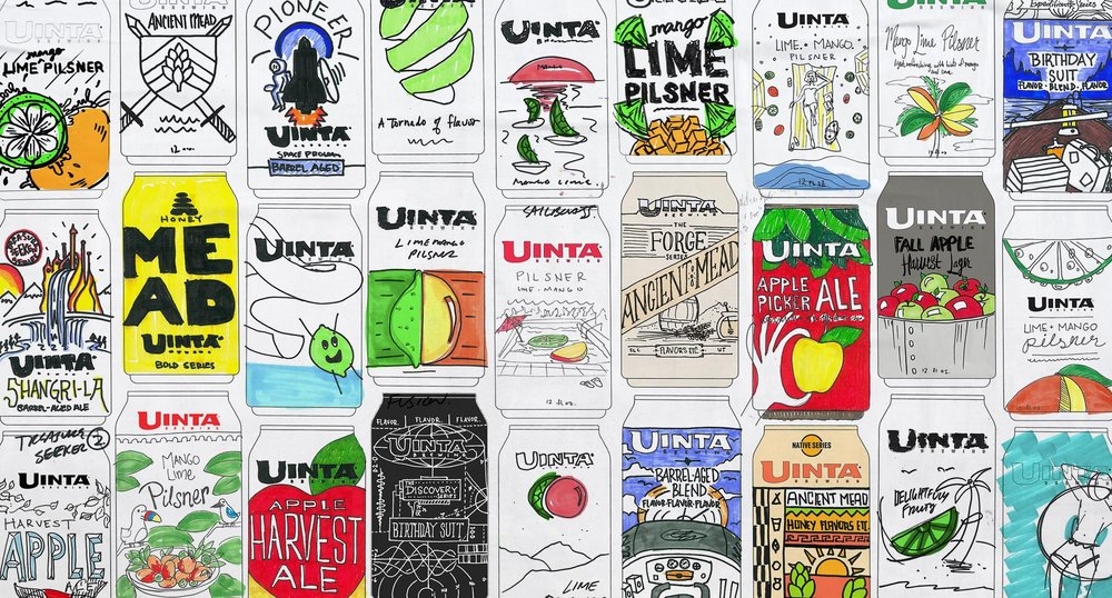 Page one of initial sketches for Uinta packaging design.