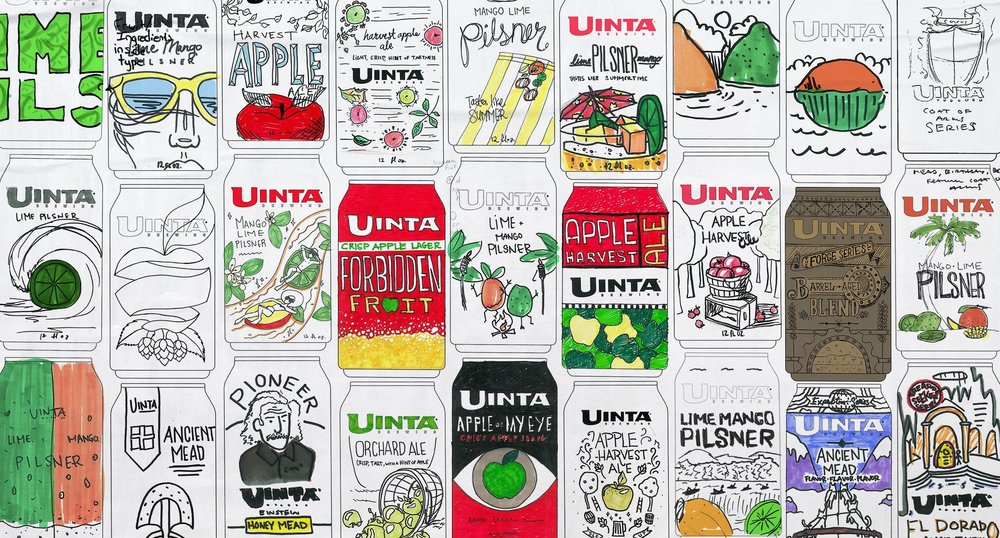 Page two of initial packaging designs for Uinta
