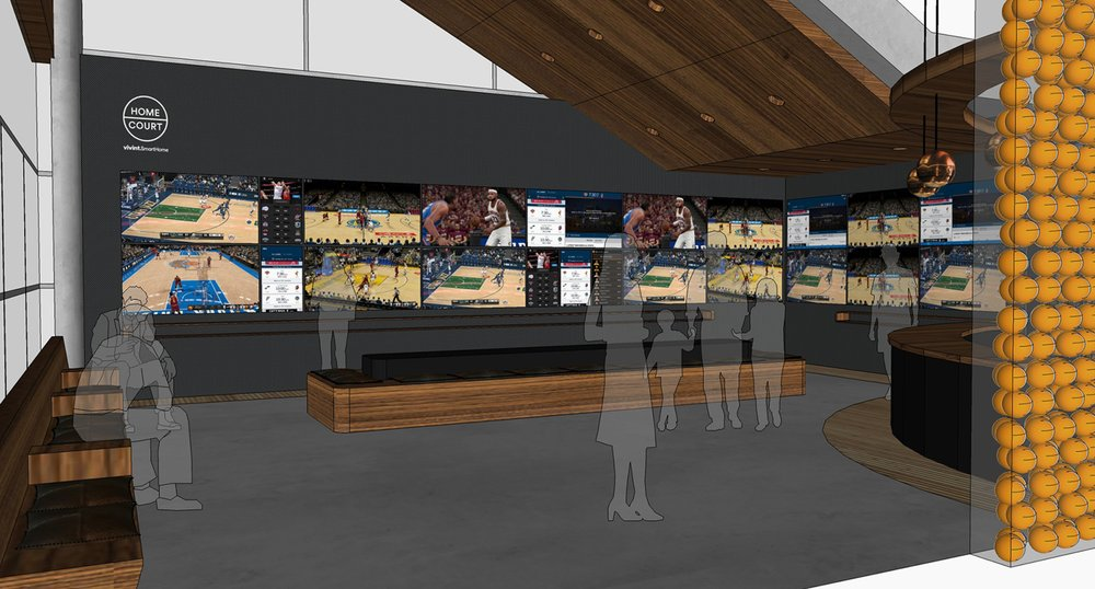 Rendering of entrance and media wall in the Home Court lounge