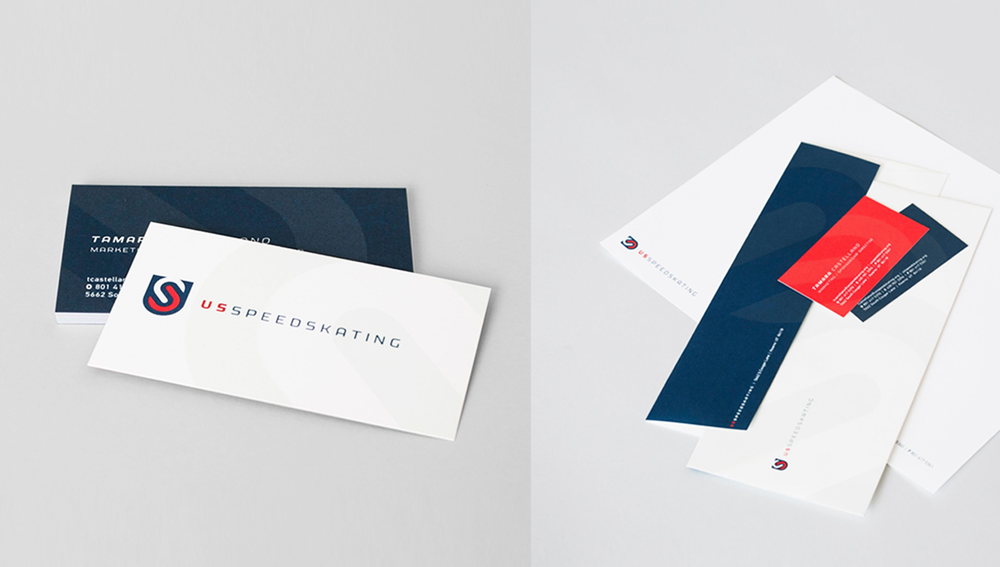 Close up of Business cards and other collateral