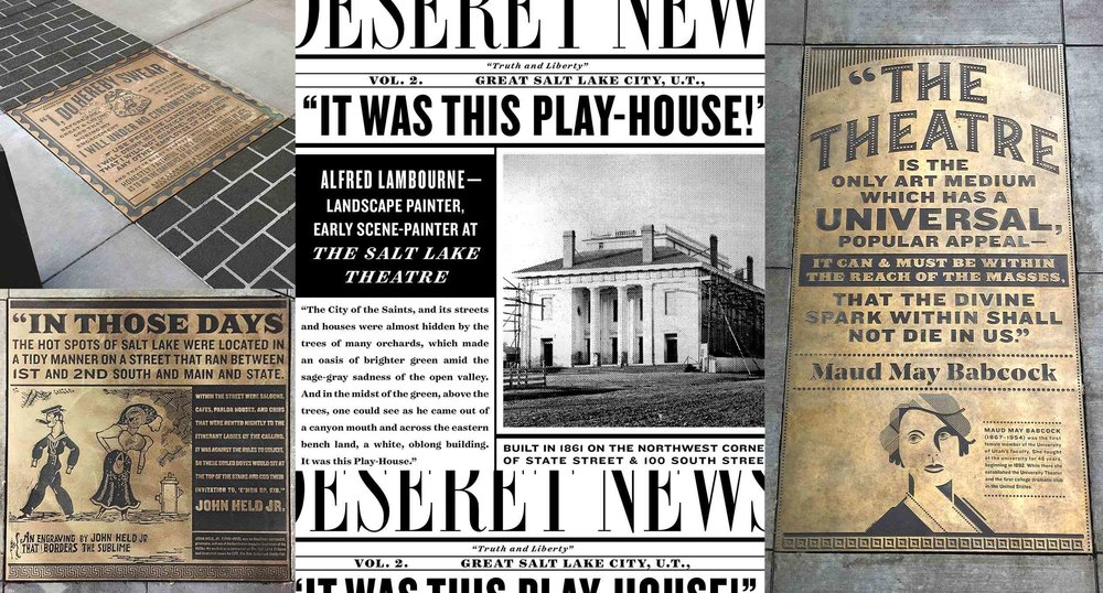 Regent Street Historical News Inserts on Sidewalk