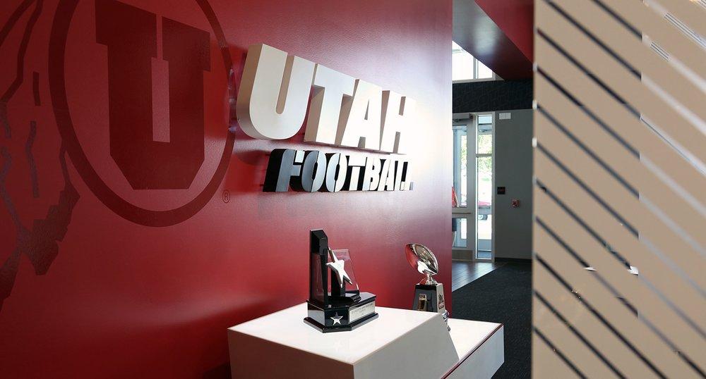 Utah Football Installed Logo on Wall