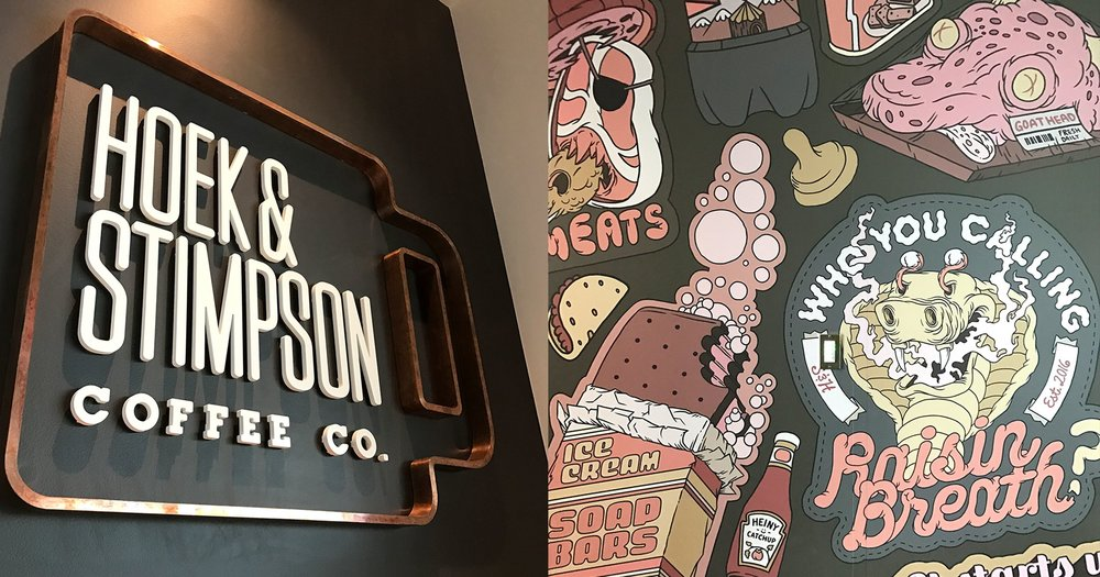 Hoek & Stimpson Coffee and food wall.