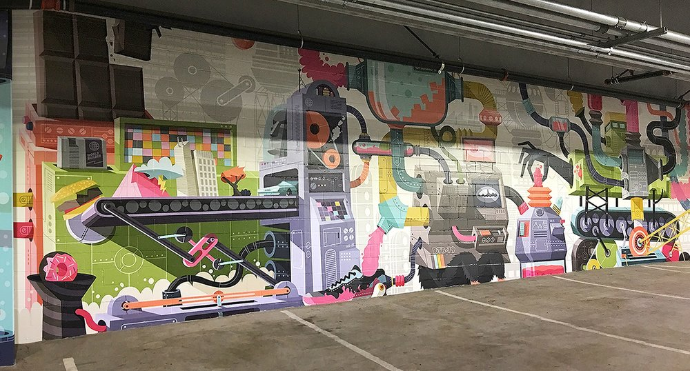 Facility Parking Garage Painted Wall with Burger on Production Line