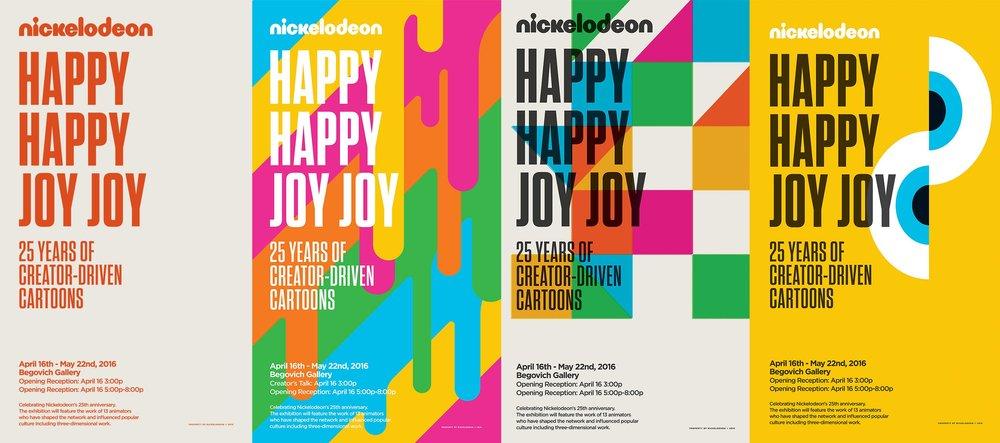 Artboard of Various Happy Happy Joy Joy Exhibit Posters