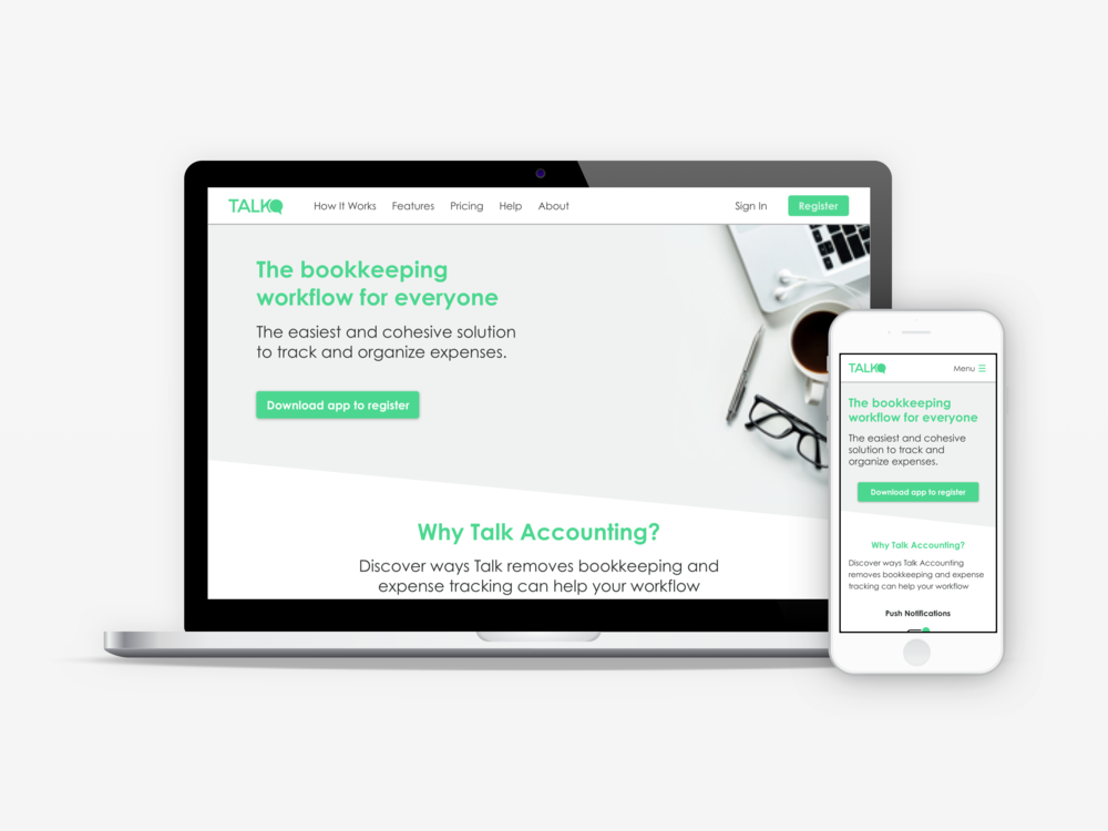 Final mobile first landing site for Talk Accounting.