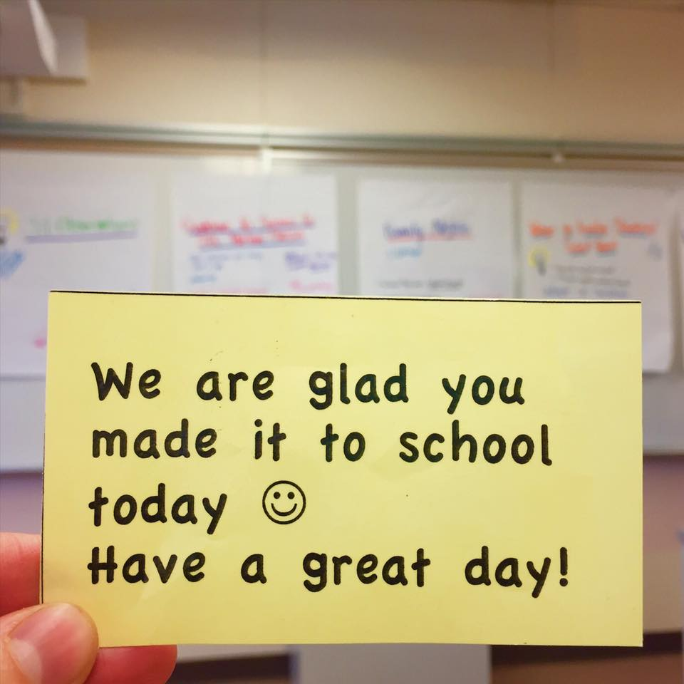 "Through staff training, collaborative planning (see posters in background) and implementation of practices such as morning greeters at the front door and these ""We are glad you made it to school today"" slips in place of tardy slips, Northwood has experienced some real shifts. In fact, according to the School Climate and Connectedness Survey, 79% of their 6th graders agreed with the statement ""I can name at least 5 adults who really care about me,"" which is a 29% improvement from last year! This work really does make a difference."