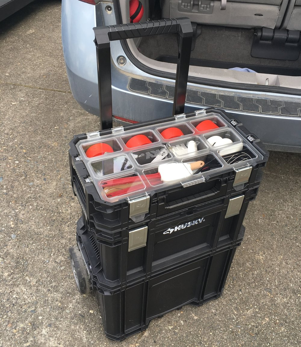 I bought this 3 tiered rolling toolbox to haul all of my kitchen supplies back and forth. Its inaugural trip today went pretty well. I did still need a bag of a few odds and ends, but I made it from my car to the school with no mishaps!