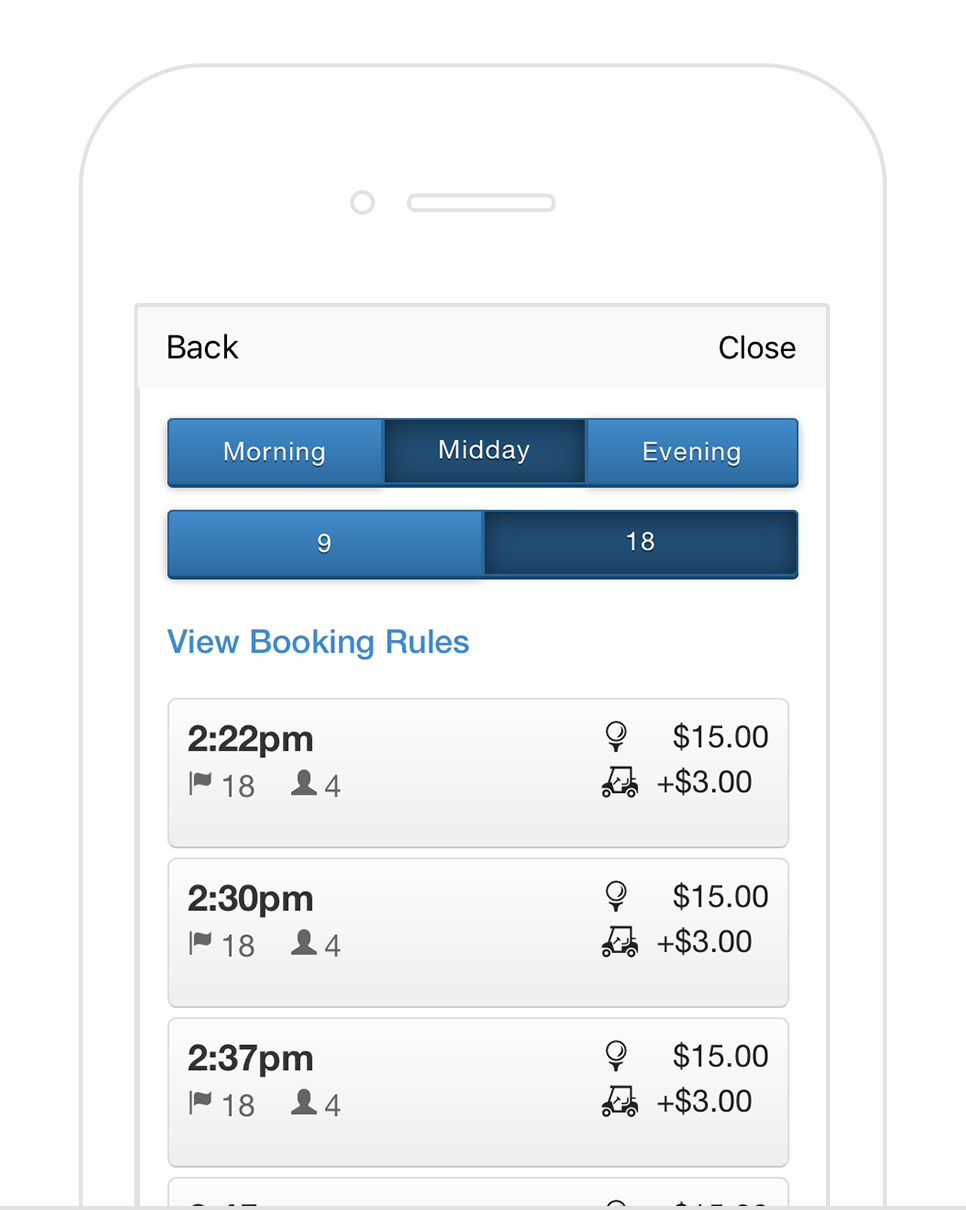 Tee Times - When your golfers download your new golf course app on their smartphone, they are only a few taps away from booking their next tee time at your course.