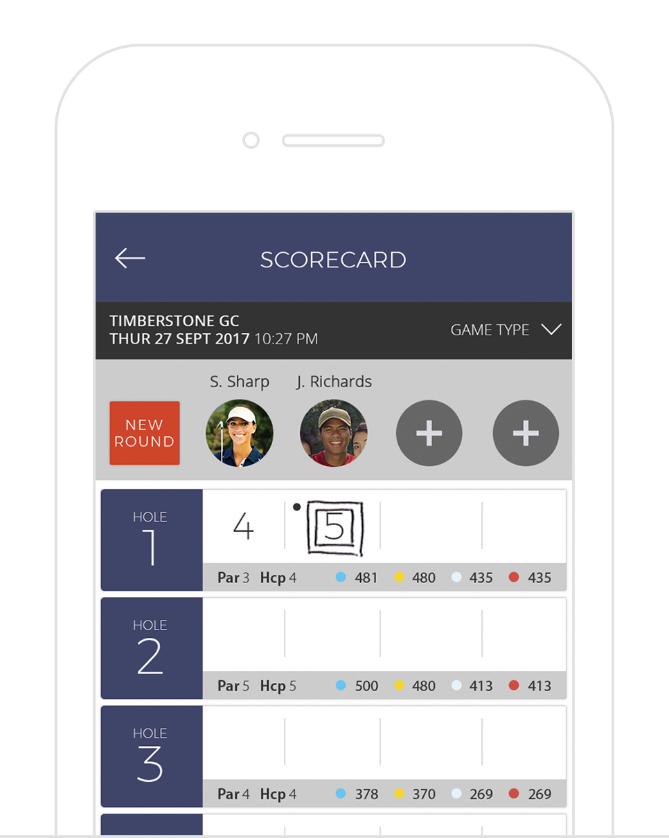Scoring - Digital scorecard that allows golfers to track their game with friends. Supports gross/net formats like Skins, Stableford, Stroke, and Par scoring.