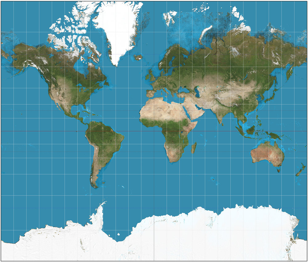 Mercator projection. Source: https://en.wikipedia.org/wiki/Mercator_projection