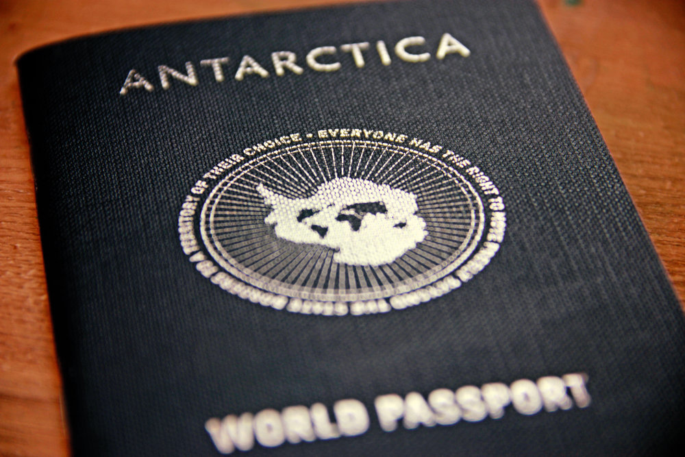 Orta, L. and Orta, J. (1995-ongoing)   Antarctica World Passport  . Image credit: author