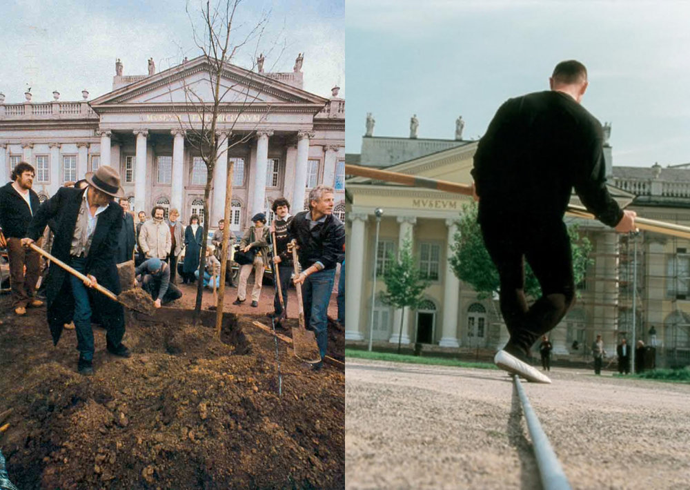 Beuys, J. (1982-87)  7000 Oakes  (left); Muelller, C.P. (1997)  A Balancing Act . Source of both images: http://www.christianphilippmueller.net/index/works/a-balancing-act