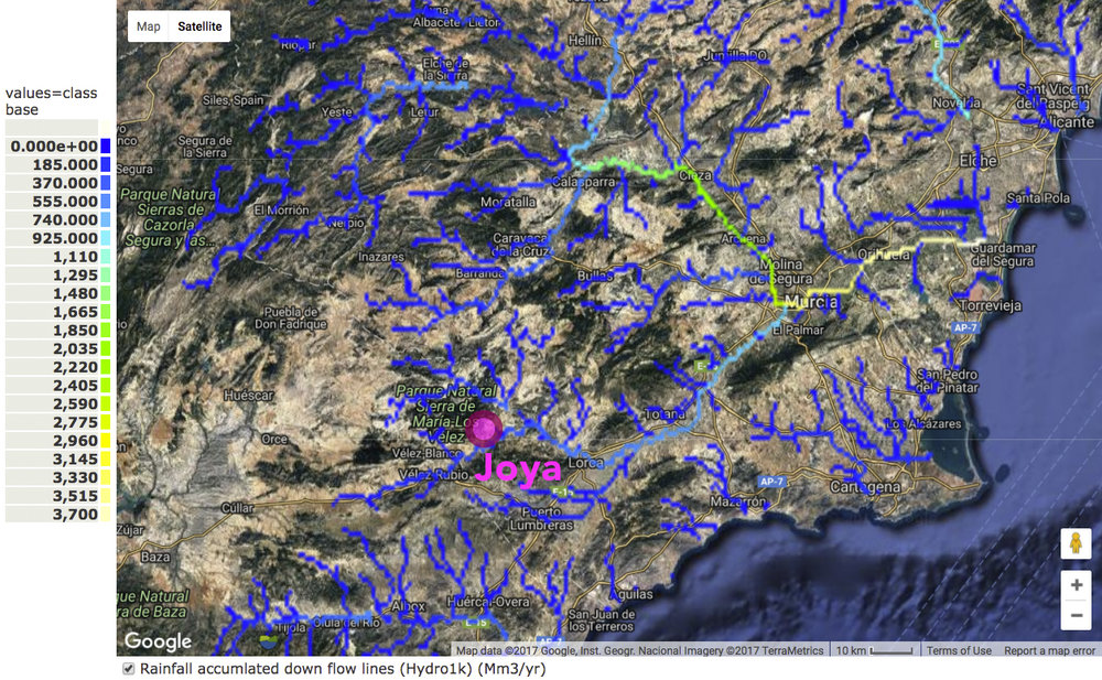Rainfall accumulated down flow lines, mm3/yr, Almeria and Murcia regions, Southern Spain. Dark blue = zero rainfall accumulated; bright yellow = 3700mm3/year.  Source: derived from  Policy Support Systems , Mulligan and Burke, Kings College London.