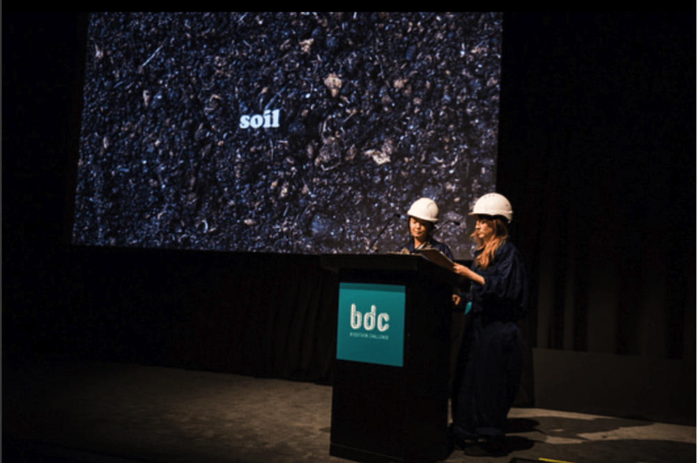 Liv Bargman (right) and Nina Cutler (left) describe their winning project biodesign project  The Quantworm Mine  at the Museum of Modern Art, 2017