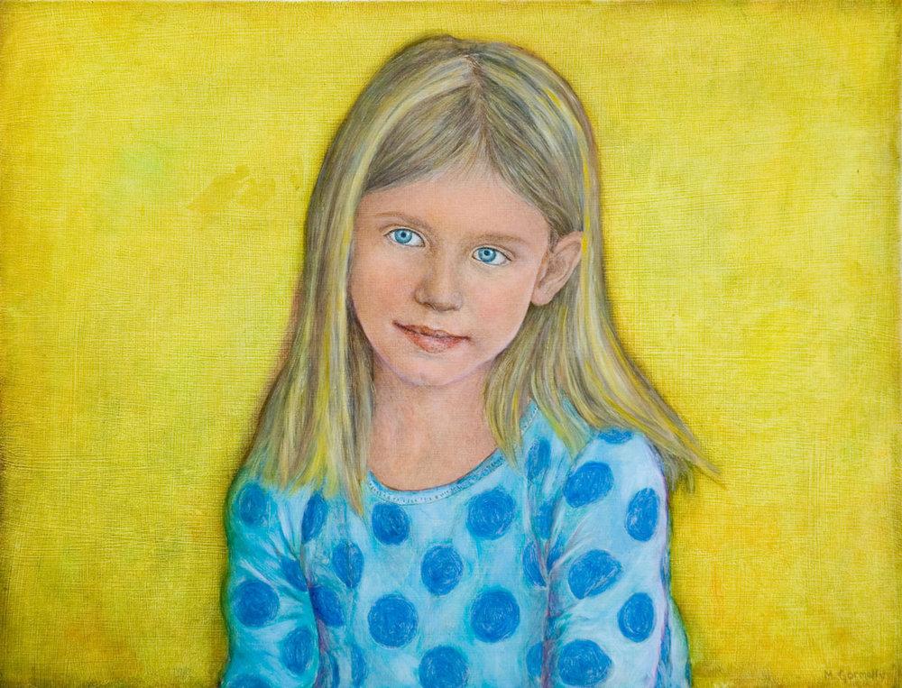 Portrait of a girl in a polka dot dress
