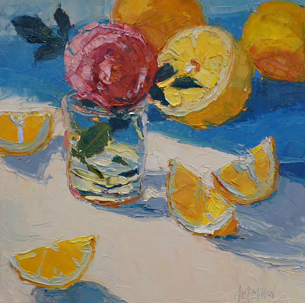 Meyer Lemons and a Rose