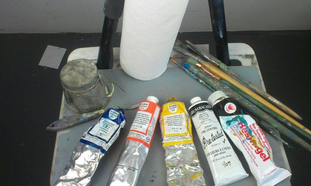 Oil Painting Supplies - Jerry's Artarama Shopping Cart for Oil PaintsPainting:Beginning and beyond materials list for acrylic and oil. This is a recent and thorough list for an evening class at Palo Alto Art Center. My most pared down kit:  A few brushes, brights and flats preferred, a color shaper, Lukas oil paint, Res'n'gel,  the magic palette knife, a pot of Gamsol, and some Viva paper towels.  that's it, besides an easel, garbage can, and a backpack.  Oh, and some canvases and a palette.