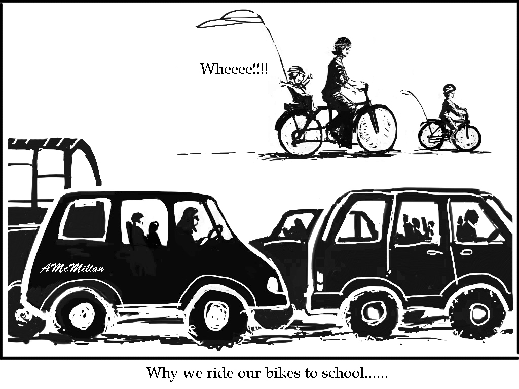 why we ride bikes to school..