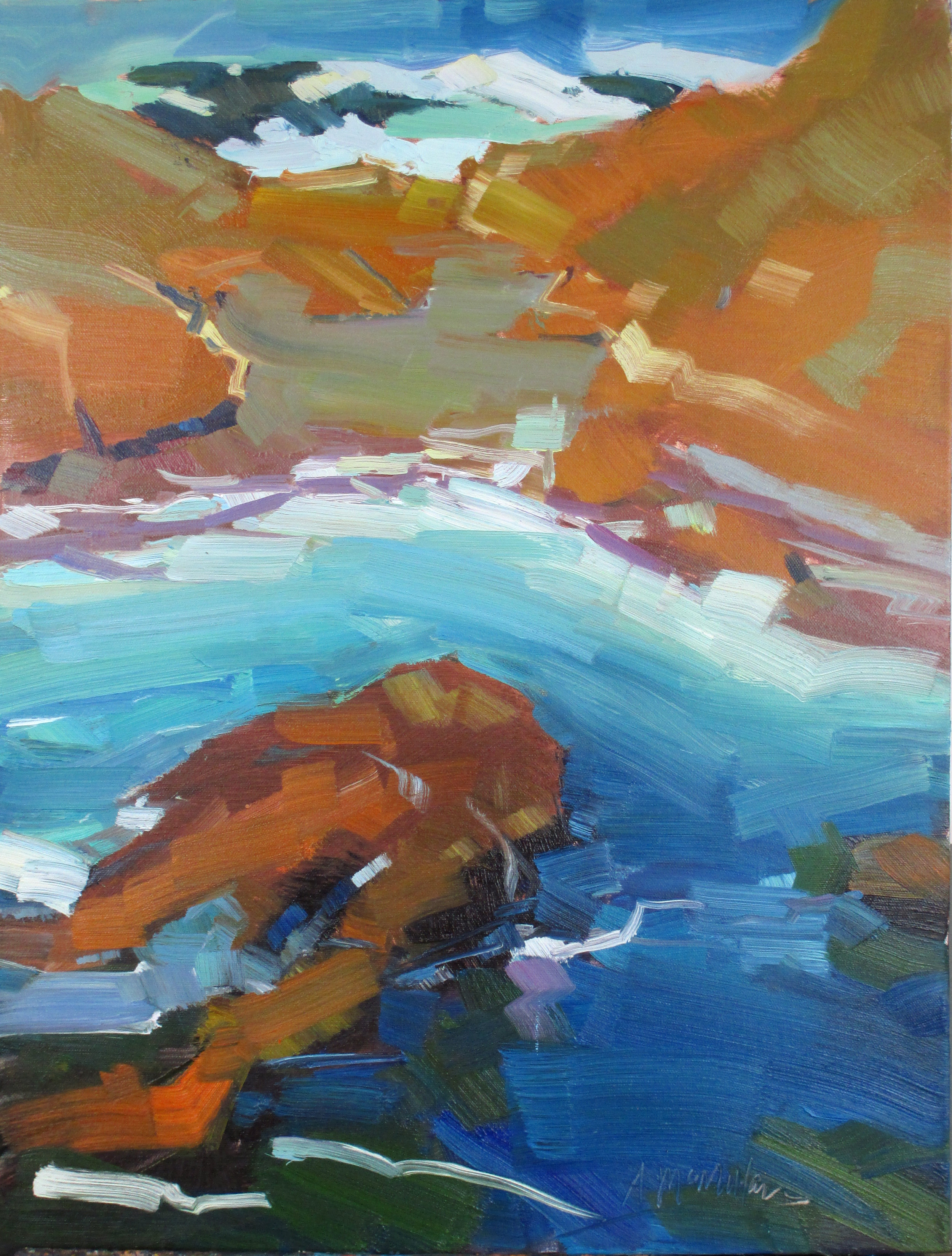 McMiillan Point Lobos Water 24 x 18 inches oil 2014