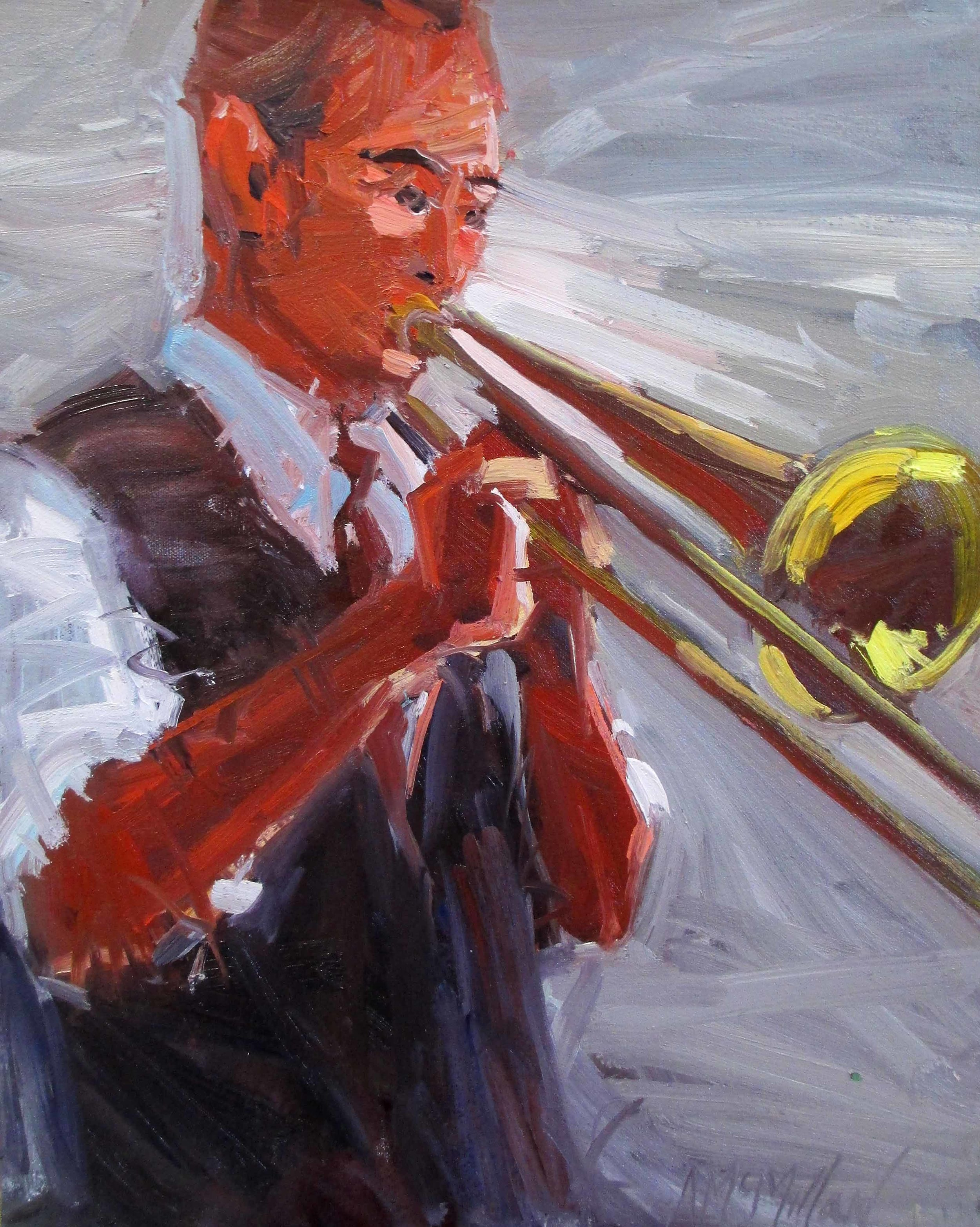 McMillan  Jazz Trombone 20 x 16 inches oil