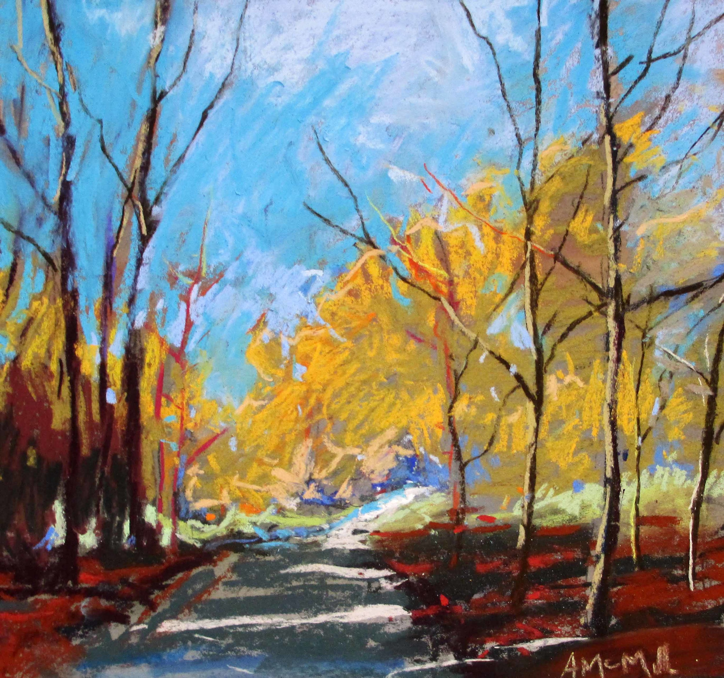 McMillan Walk in the Winter Woods 11 x 13 inches oil