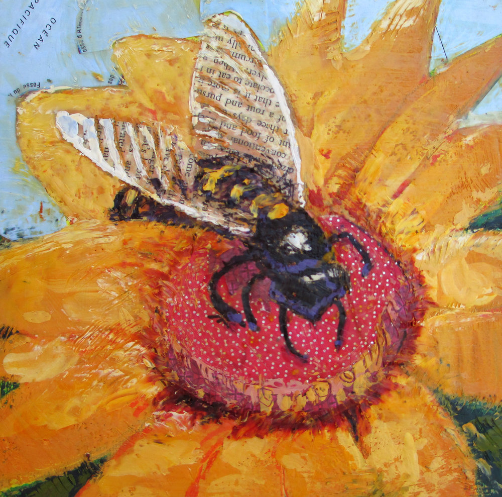 McMillan Bee on the Map 6 x 6 inches encaustic and collage