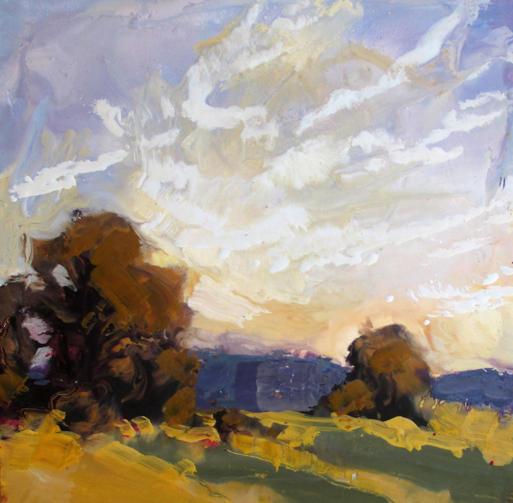 McMillan California Hills 6 x 6 inches encaustic