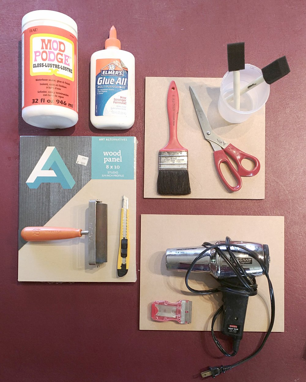 Here are some supplies you may need, depending on what you want to do:  Cradled board, mdf panels, exacto knife, razor blade, head gun (I will bring some, but you may want one for home) scissors, cheap brushes, and either modge-podge or Elmers glue. Paper makes a fine substrate as well.