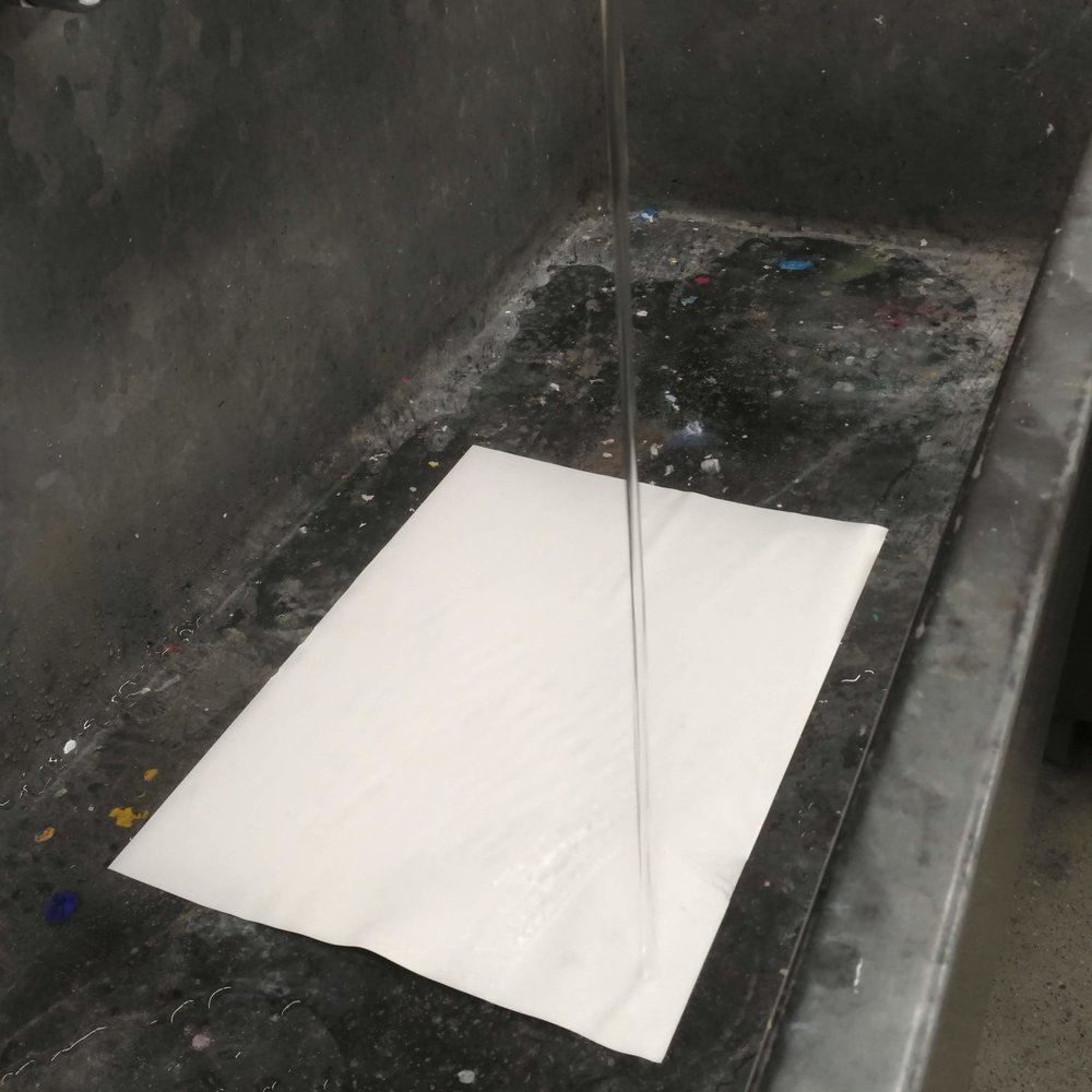 Step one: Soak the palette paper in the sink.
