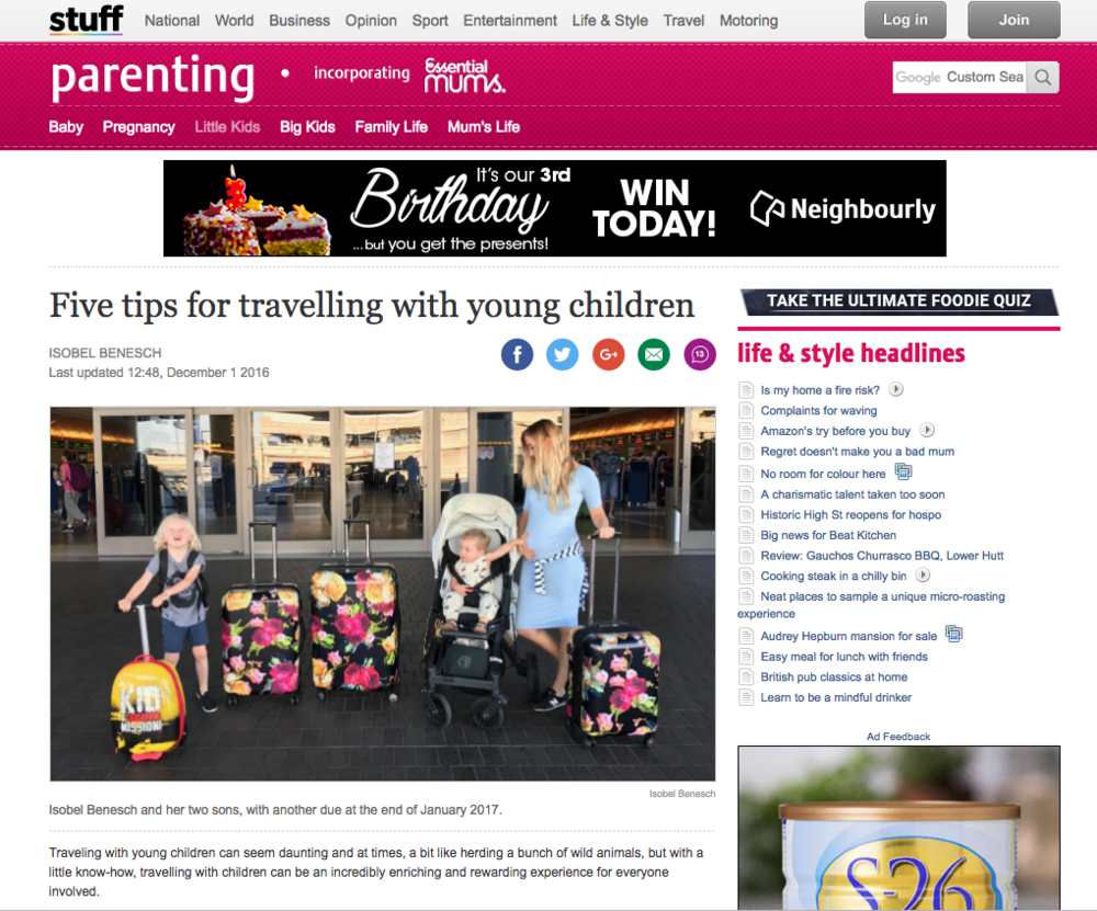 STUFF NZ: FIVE TIPS FOR TRAVELLING WITH YOUNG CHILDREN