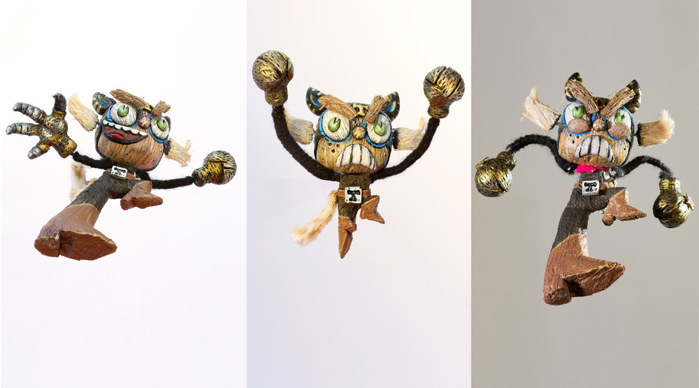 Some of the many poses we created for El Tigre using replacement parts.