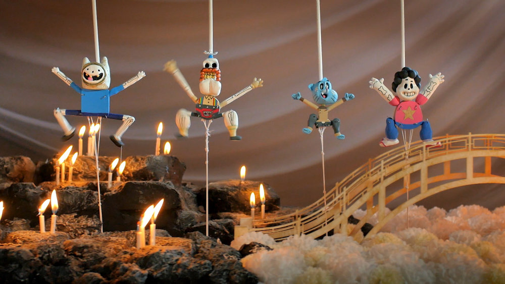 Finn el Humano, Tío Grandpa, Gumball y Steven Universe yendo a la pachanga del Día de Muertos.