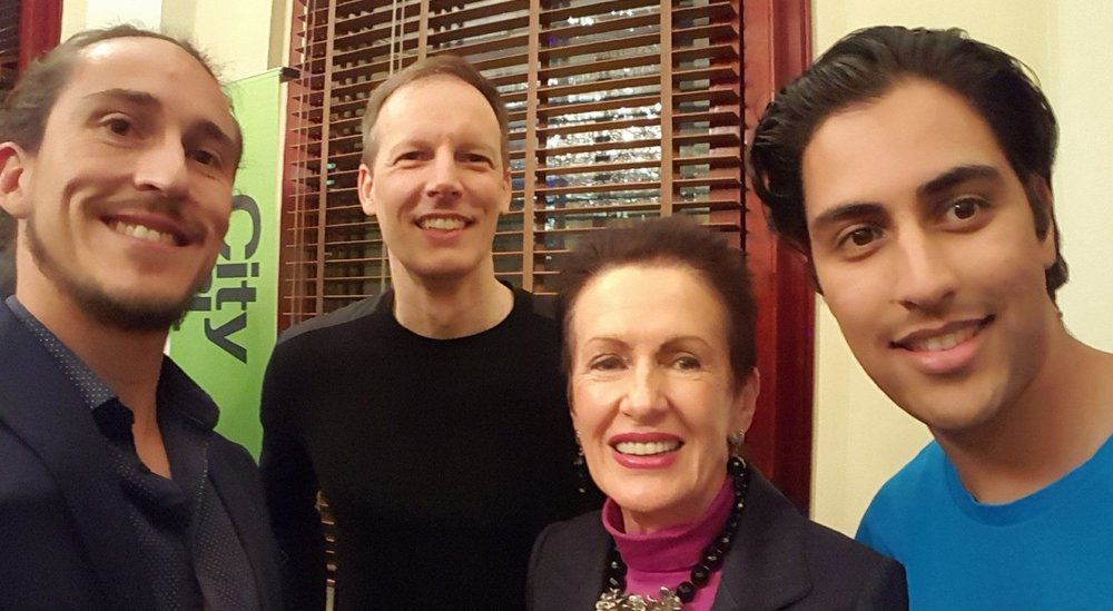 Francisco Fleming ,  Jim McKelvey  (co-founder of Square), Lord Mayor Clover Moore and Rasmus Violet Hill.
