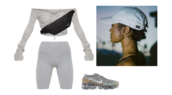 -  Grey Ruched Knit Extreme Sleeve Crop Jumper   -  Grey Marl Cycle Shorts   -  Nike Air VaporMax FlyKnit Trainers   -  Nike Hood Waistpack