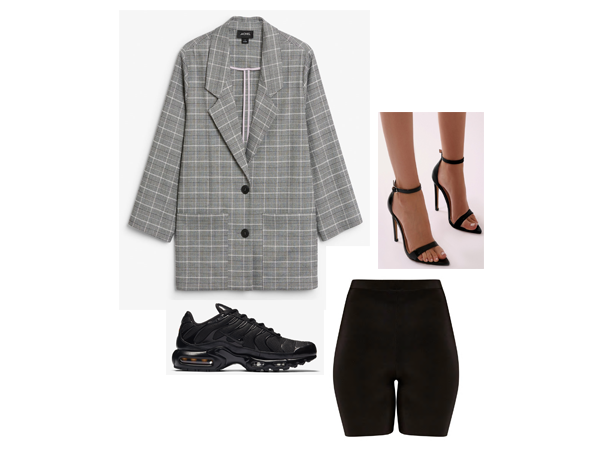 -  Oversized Blazer    -  Black Cycle Shorts    -  Pointed Barely There Heels   -  Nike Tuned1