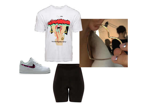 """-  Black Cycle Shorts    -  """"Acquired Taste"""" Tee   -  Mean Feet London Trainers"""