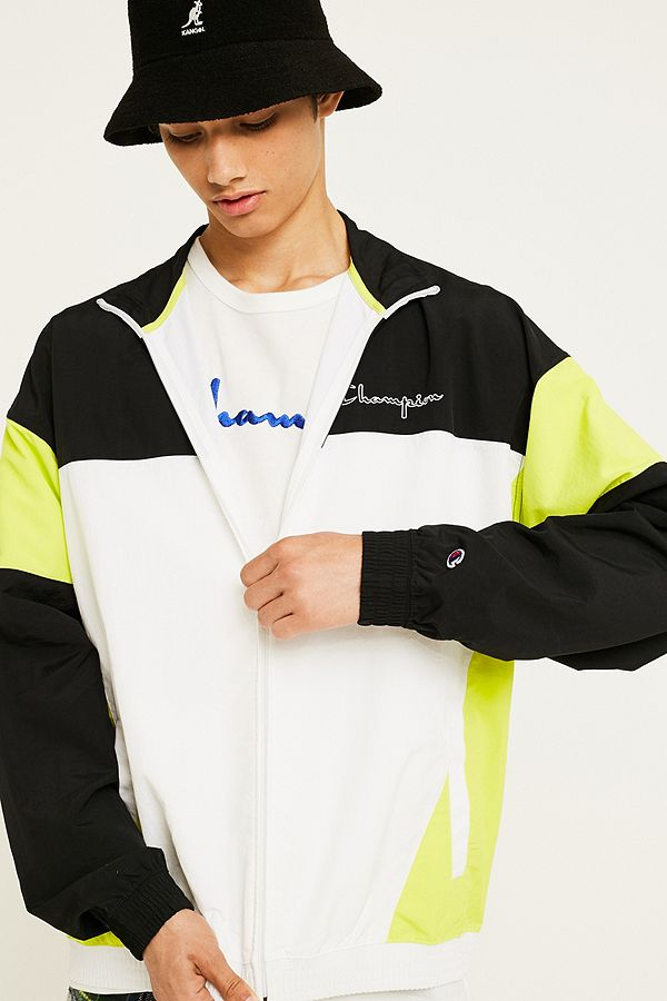 THE TRACK JACKET - CHAMPION - BLACK AND LIME TRACK JACKET