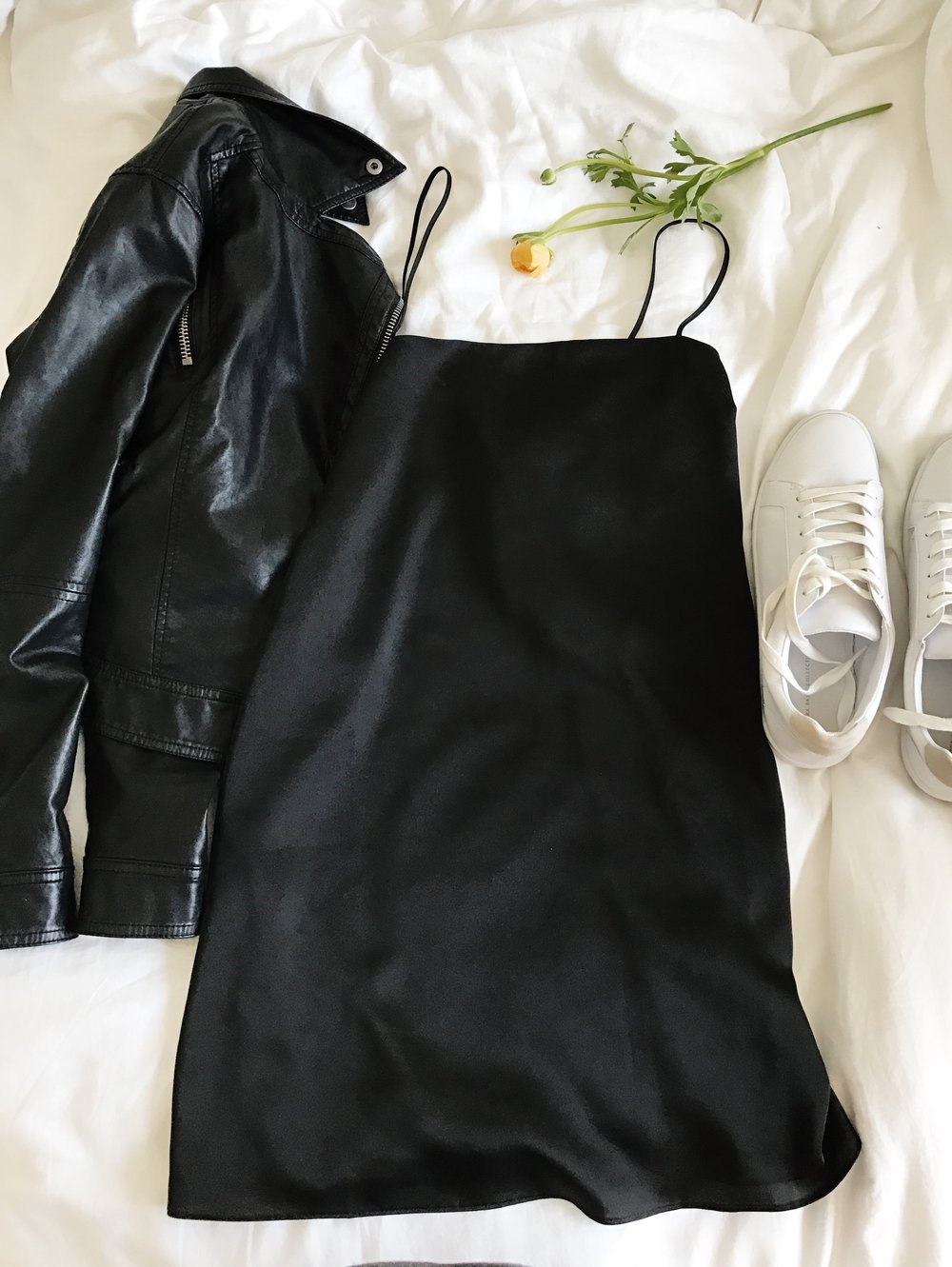 DAY FIVE Black slip dress // Leather jacket I just love a good slip dress! Adding a little edge for wandering the palace of Versailles.