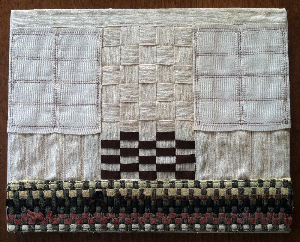 Notions, middy braid, vintage rag rug fragment, twill tape, 2013.