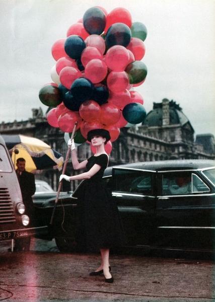 Audrey Hepburn en el set de Funny Face